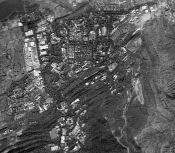 A 2007 satellite image of the Khan Research Laboratories in Kahuta.