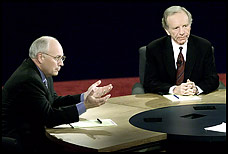 Dick Cheney and Joe Lieberman debate in Danville, Kentucky.