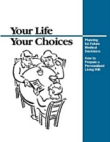 The cover of the VA booklet 'Your Life, Your Choices.' The cover text reads: 'Planning for Future Medical Decisions' and 'How to Prepare a Personalized Living Will.'