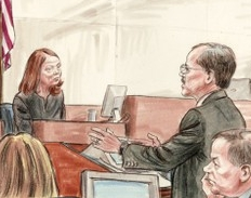 Jill Abramson (left) testifies under questioning by defense counsel William Jeffress, as lawyers look on.
