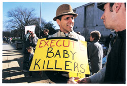 ACLA protester advocates the 'execution' of abortion providers.