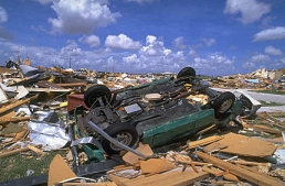 Damage from Hurricane Andrew, in Dade County, Florida.