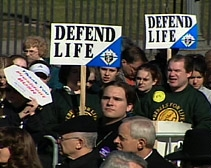 Anti-abortion protesters gather to voice their opposition to abortion.