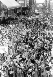Photo of crowd during June 12, 1982 anti-nuclear proliferation rally.