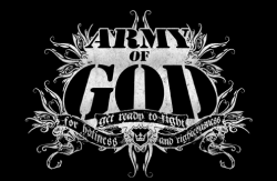 One of a number of semi-official logos for the Army of God. The logo depicts the organization's slogan: 'Get Ready to Fight for Holiness and Righteousness.'