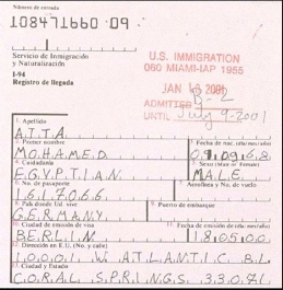 Atta's immigration record for his arrival on January 10, 2001, after alteration in early May.