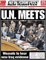 New York Post cover labeling the United Nations 'weasels.'