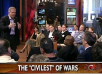 A photo from Glenn Beck&#8217;s &#8216;The Civilest War&#8217; broadcast on Fox News. Beck is at far left.
