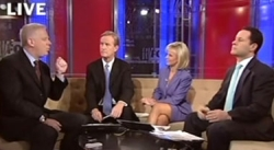 Glenn Beck and the hosts of Fox & Friends. Brian Kilmeade is on the far right.