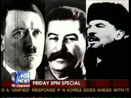 A montage of photos aired by Glenn Beck in April 2009, featuring Hitler, Stalin, and Lenin. Beck's voiceover asked, 'Is this where we're heading?'