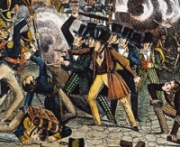 A portion of a painting illustrating the street violence surrounding the &#8216;Bible Riots.&#8217;