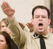 ANSWP leader Bill White giving a Nazi salute.