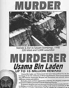 A portion of a US wanted poster for bin Laden, highlighting the African embassy bombings and a $5 million reward.