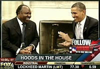 Gabon President Ali Bongo (L) and US President Barack Obama labeled as 'hoods' by Fox Business Channel.