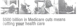 Header from the mailer sent out by 60+, depicting four senior citizens apparently suffering from lack of health care.