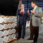 Bush, with Oak Ridge&#8217;s Jon Kreykes, looks at nuclear weapons materials turned over by Libya.