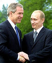Presidents Bush and Putin during the summit.