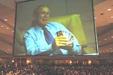 One of the slides in President Bush&#8217;s presentation during the evening&#8217;s entertainment.