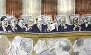 An artist&#8217;s rendition of the nine Court justices hearing oral arguments in the &#8216;Bush v. Gore&#8217; case.