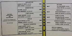 A portion of the so-called &#8216;butterfly ballot&#8217; used in the Palm Beach County elections.
