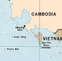 Map of the Cambodian coast showing the island of Koh Tang.