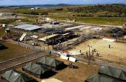 An aerial shot of Camp X-Ray.