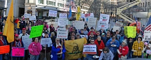 Some of the protesters at the &#8216;Porkulus&#8217; rally in Seattle.