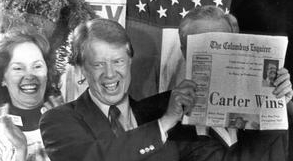 Jimmy Carter celebrates his presidential victory.