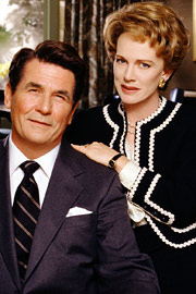 Publicity photo from 'The Reagans' miniseries, with James Brolin and Judy Davis as Ronald and Nancy Reagan.