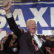 Saxby Chambliss celebrates his victory over Max Cleland.