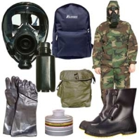 Army-issue chemical and biological protective gear.