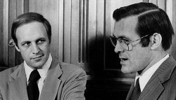 Dick Cheney and Donald Rumsfeld speaking to reporters, 1975.