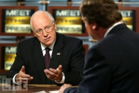 Dick Cheney answering a question posed by Tim Russert on &#8216;Meet the Press.&#8217;