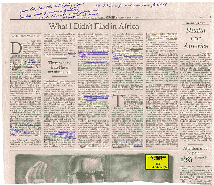 A photograph of the copy of Wilson's op-ed annotated by Dick Cheney.