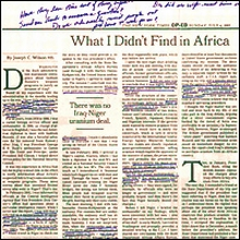 A photo of the Wilson op-ed with Cheney&#8217;s notes written on it. The clipping will be presented as evidence in the Libby trial.