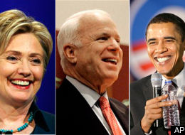 Hillary Clinton, John McCain, and Barack Obama.