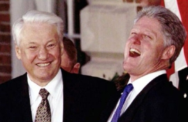 Yeltsin and Clinton share a laugh.