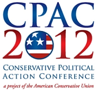 The CPAC 2012 logo. The small print at the bottom reads, &#8216;A project of the American Conservative Union.&#8217; 