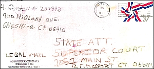 The envelope mailed to the Connecticut State Attorney&#8217;s Office.