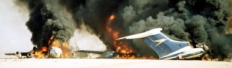 Two of the airliners detonated by the hijackers at Dawson&#8217;s Field on September 12, 1970.