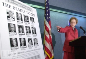 ALL president Julie Brown points to her organization's 'Deadly Dozen' poster.
