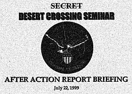 Photo of the cover of the Desert Crossing after-action briefing.