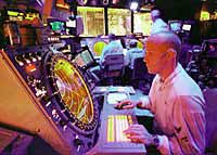 Air Traffic Controllers on board the USS <i>Enterprise</i> guide strike aircraft on bombing runs into Iraq. Photo taken December 17, 1998.