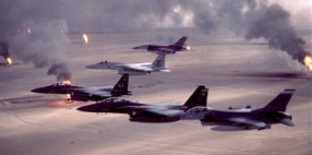 One of the many air strikes launched against Iraqi targets during Operation Desert Storm.