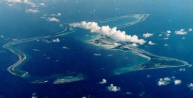 Aerial photo of Diego Garcia island.