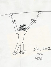 A sketch by MP Sergeant Thomas Curtis showing how Dilawar was chained to the ceiling of his cell. 