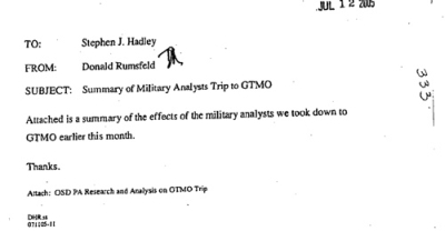 The memo from Rumsfeld to Hadley.