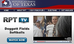 Screenshot of Texas GOP Web site featuring Doggett protest video, from August 5, 2009.