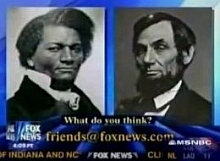 Fox News graphic illustrating the Lincoln-Douglas debates. Depicted on the left is Frederick Douglass, the civil rights champion who did not debate Abraham Lincoln.