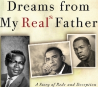 A portion of the cover of the DVD &#8216;Dreams From My Real Father.&#8217; The subtitle is &#8216;A Story of Reds and Deception.&#8217;